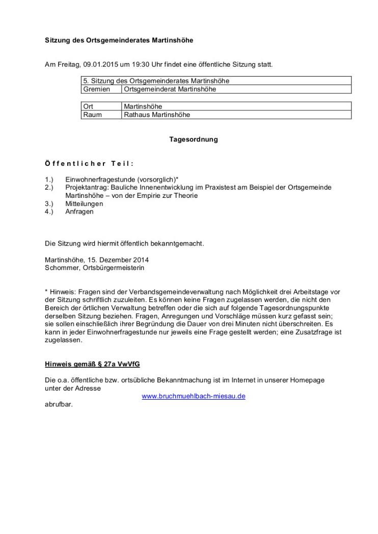 Bekanntmachungen 04 - Martinshöhe